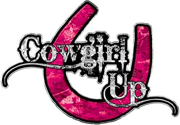 Cowgirl Up Decal / Sticker Western Style Writing with Horseshoe in Pink Camouflage