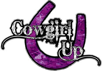 Cowgirl Up Decal / Sticker Western Style Writing with Horseshoe in Purple Camouflage