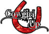 Cowgirl Up Decal / Sticker Western Style Writing with Horseshoe in Red Camouflage