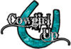 Cowgirl Up Decal / Sticker Western Style Writing with Horseshoe in Teal Camouflage