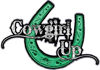 Cowgirl Up Decal / Sticker Western Style Writing with Horseshoe in Green