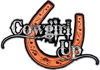 Cowgirl Up Decal / Sticker Western Style Writing with Horseshoe in Orange
