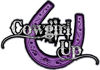 Cowgirl Up Decal / Sticker Western Style Writing with Horseshoe in Purple