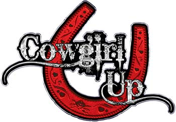 Cowgirl Up Decal / Sticker Western Style Writing with Horseshoe in Red