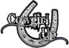 Cowgirl Up Decal / Sticker Western Style Writing with Horseshoe in Silver