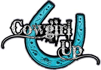 Cowgirl Up Decal / Sticker Western Style Writing with Horseshoe in Teal