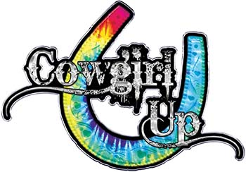 Cowgirl Up Decal / Sticker Western Style Writing with Horseshoe in Tie Dye Colors