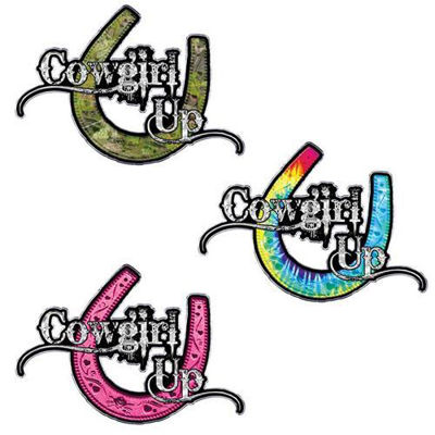 Cowgirl Up decals with Horseshoe
