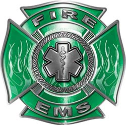 Fire EMS Maltese Cross Decal with Flames and Star of Life in Green