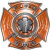 Fire EMS Maltese Cross Decal with Flames and Star of Life in Orange
