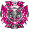 Fire EMS Maltese Cross Decal with Flames and Star of Life in Pink