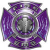 Fire EMS Maltese Cross Decal with Flames and Star of Life in Purple