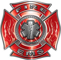 Fire EMS Maltese Cross Decal with Flames and Star of Life in Red