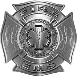 Fire EMS Maltese Cross Decal with Flames and Star of Life in Silver