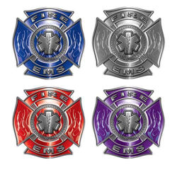 Firefighter EMT decals with Star of Life, Maltese Cross and Flames