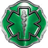 Firefighter EMT / EMS Maltese Cross and Star of Life Sticker / Decal in Green