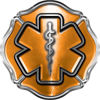 Firefighter EMT / EMS Maltese Cross and Star of Life Sticker / Decal in Orange