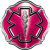 Firefighter EMT / EMS Maltese Cross and Star of Life Sticker / Decal in Pink