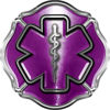 Firefighter EMT / EMS Maltese Cross and Star of Life Sticker / Decal in Purple