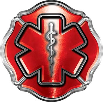 Firefighter EMT / EMS Maltese Cross and Star of Life Sticker / Decal in Red
