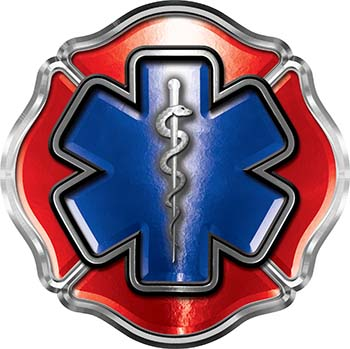 Firefighter EMT / EMS Maltese Cross and Star of Life Sticker / Decal in Red and Blue