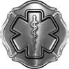 Firefighter EMT / EMS Maltese Cross and Star of Life Sticker / Decal in Silver