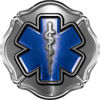 Firefighter EMT / EMS Maltese Cross and Star of Life Sticker / Decal in Silver and Blue