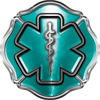 Firefighter EMT / EMS Maltese Cross and Star of Life Sticker / Decal in Teal