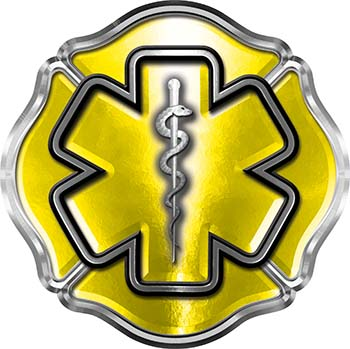 Firefighter EMT / EMS Maltese Cross and Star of Life Sticker / Decal in Yellow