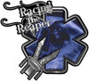 Racing the Reaper Fire Rescue EMS Decal with Extrication Tools in Blue