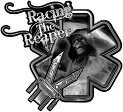 Racing the Reaper Fire Rescue EMS Decal with Extrication Tools in Gray