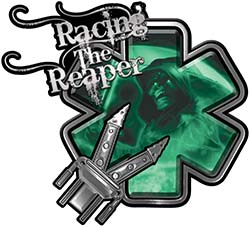 Racing the Reaper Fire Rescue EMS Decal with Extrication Tools in Green