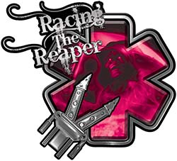 Racing the Reaper Fire Rescue EMS Decal with Extrication Tools in Pink
