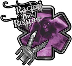 Racing the Reaper Fire Rescue EMS Decal with Extrication Tools in Purple