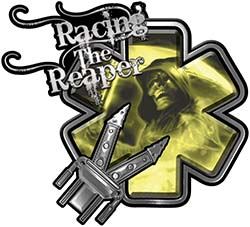 Racing the Reaper Fire Rescue EMS Decal with Extrication Tools in Yellow