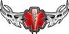 Tribal Wings with Star of Life In Red