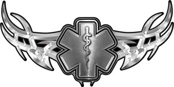 Tribal Wings with Star of Life In Silver