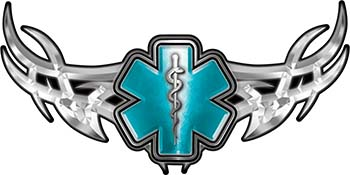 Tribal Wings with Star of Life In Teal