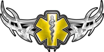 Tribal Wings with Star of Life In Yellow