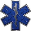 Star of Life Emergency EMS EMT Paramedic Decal in Diamond Plate Blue