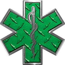 Star of Life Emergency EMS EMT Paramedic Decal in Diamond Plate Green