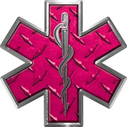 Star of Life Emergency EMS EMT Paramedic Decal in Diamond Plate Pink