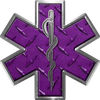 Star of Life Emergency EMS EMT Paramedic Decal in Diamond Plate Purple