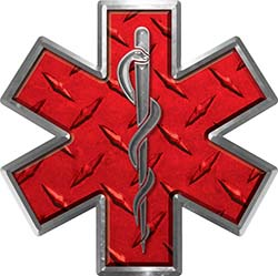 Star of Life Emergency EMS EMT Paramedic Decal in Diamond Plate Red