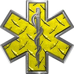 Star of Life Emergency EMS EMT Paramedic Decal in Diamond Plate Yellow