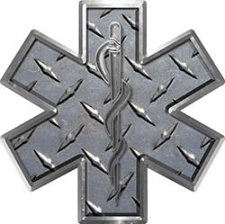 Star of Life Emergency EMS EMT Paramedic Decal in Diamond Plate