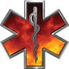 Star of Life Emergency EMS EMT Paramedic Decal in Fire