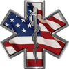 Star of Life Emergency EMS EMT Paramedic Decal with American Flag