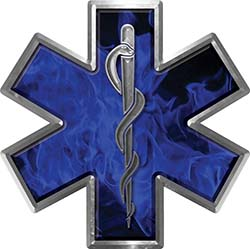 Star of Life Emergency EMS EMT Paramedic Decal in Inferno Blue