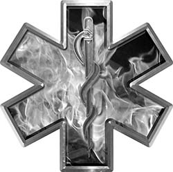 Star of Life Emergency EMS EMT Paramedic Decal in Inferno Gray